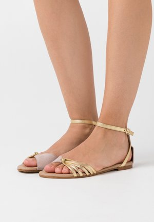 LEATHER SANDALS - Sandály - nude/gold