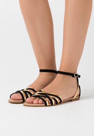 LEATHER - Sandals - black/gold