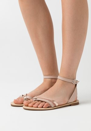 LEATHER - T-bar sandals - nude/rose gold