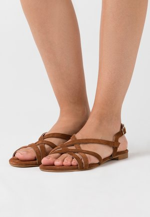 LEATHER - Sandals - cognac