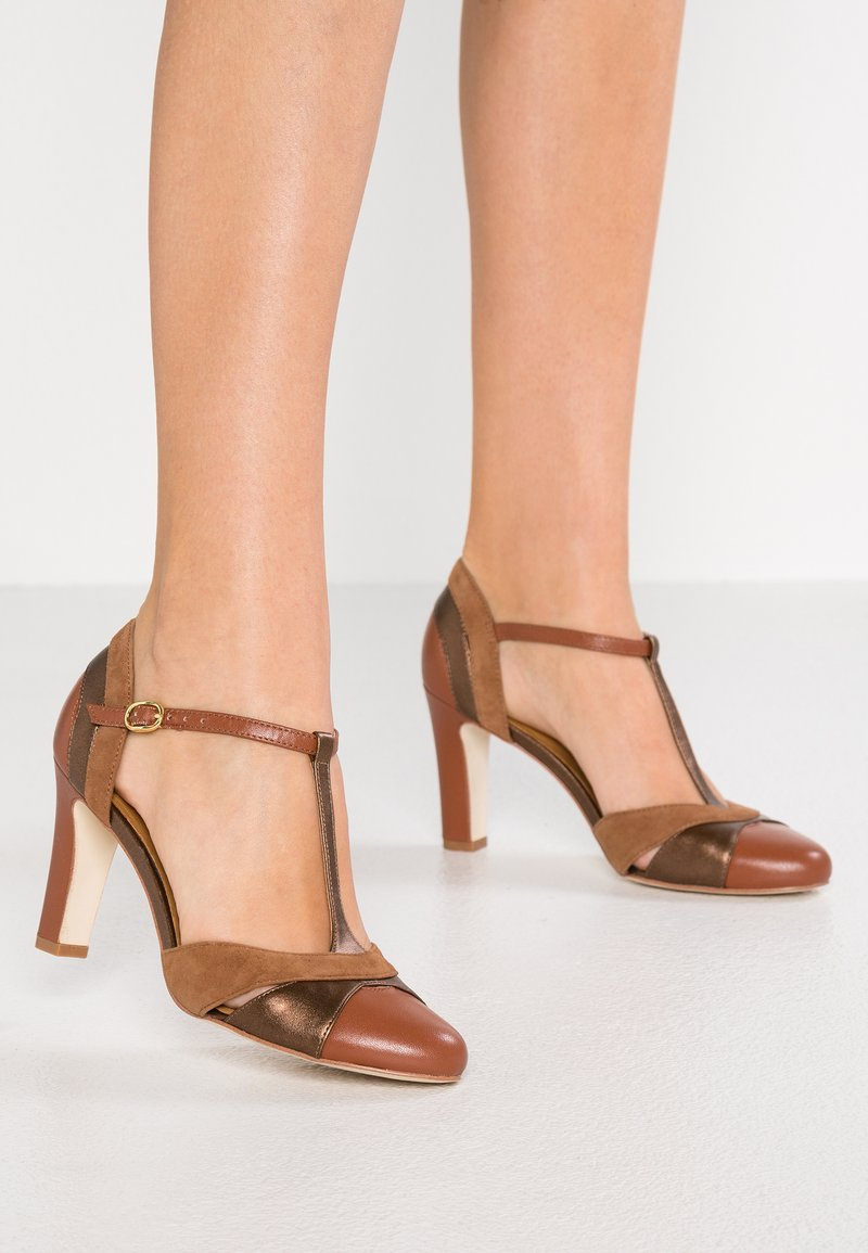 Anna Field - LEATHER HIGH HEELS - Høye hæler - cognac