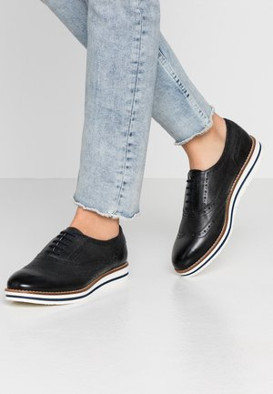 LEATHER FLAT SHOES - Casual lace-ups - dark blue