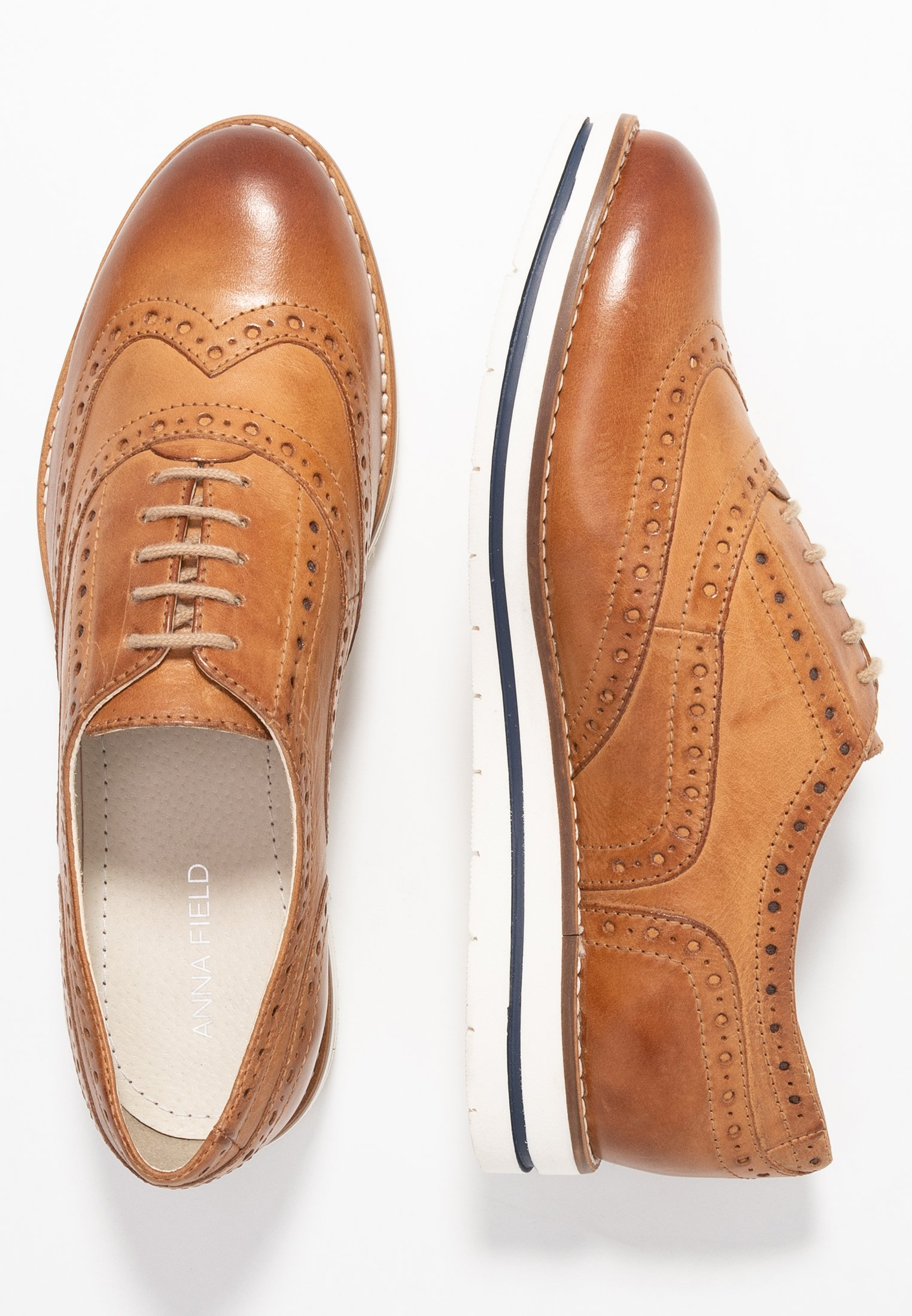 Anna Field LEATHER LACE-UPS - Chaussures à lacets - cognac