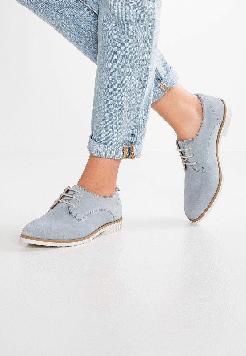 Anna Field - LEATHER FLAT SHOES LACE-UPS - Lace-ups - light blue