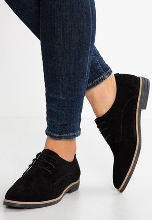 LEATHER FLAT SHOES LACE-UPS - Snøresko - black