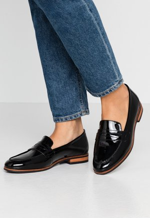 LEATHER SLIP-ONS - Slippers - black