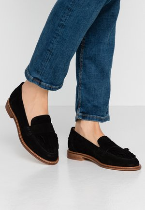 LEATHER SLIPPERS - Mocasines - black