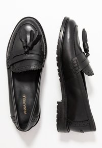 Anna Field - LEATHER SLIP-ONS - Slippers - black - 3