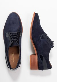 Anna Field - LEATHER LACE-UPS - Derbies - dark blue - 3