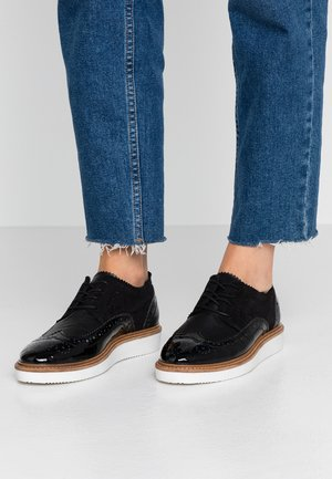 LEATHER LACE-UPS - Snøresko - black