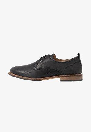 LEATHER LACE UPS - Zapatos de vestir - black
