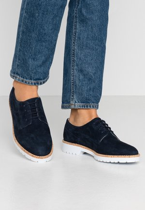 LEATHER LACE UPS - Lace-ups - dark blue