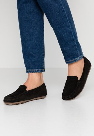LEATHER MOCCASINS - Mokasyny - black