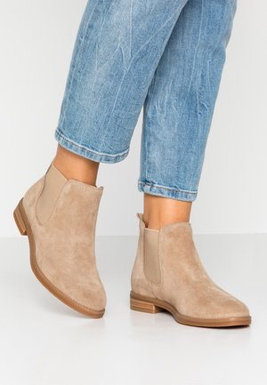 LEATHER BOOTIES - Ankle boots - beige