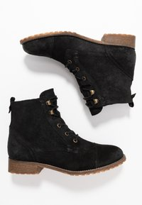 Anna Field - LEATHER BOOTIES - Šněrovací kotníkové boty - black - 3
