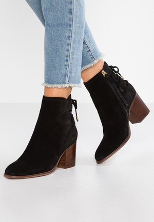 LEATHER BOOTIES - Støvletter - black