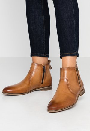 LEATHER BOOTIES - Bottines - cognac