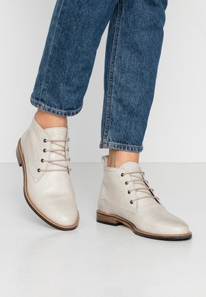 LEATHER BOOTIES - Lace-up ankle boots - offwhite