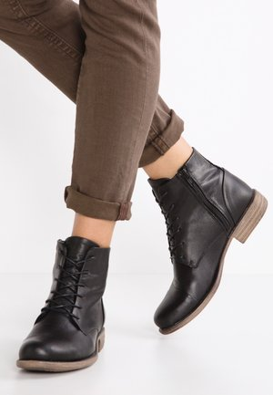 LEATHER BOOTIES - Ankelstøvler - black