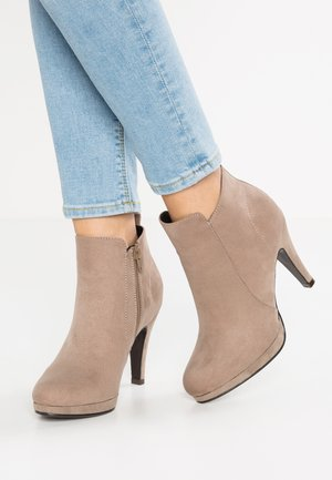 High heeled ankle boots - taupe