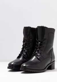 Anna Field - LEATHER WINTER BOOTIES - Lace-up ankle boots - black - 4