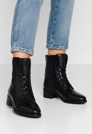 LEATHER WINTER BOOTIES - Snørestøvletter - black