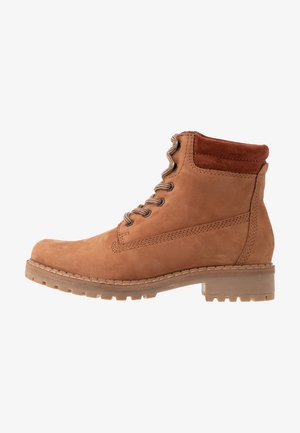 LEATHER WINTER BOOTS - Winter boots - cognac