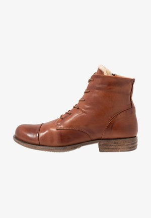 LEATHER WINTER BOOTIES - Stivali da neve  - cognac