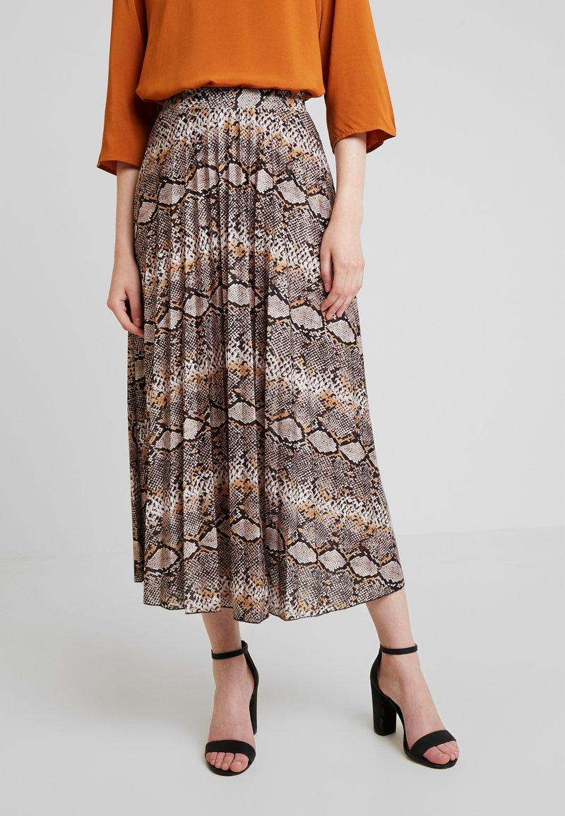 Anna Field - Áčková sukně - dark brown/yellow