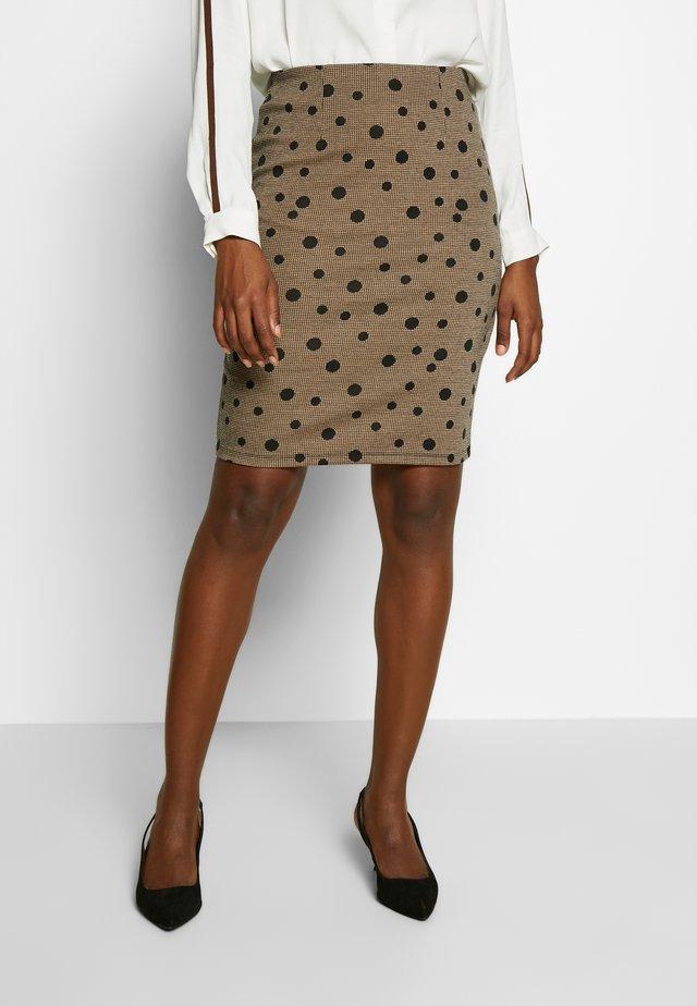 Pencil skirt - black/light brown