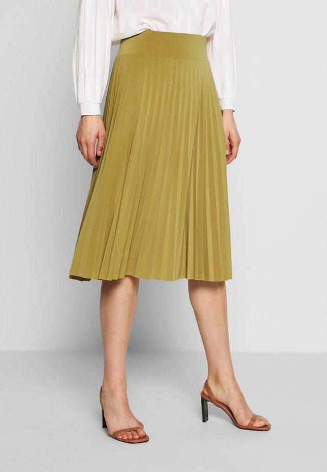 BASIC - Plissé A-line skirt - A-line skirt - ecru olive