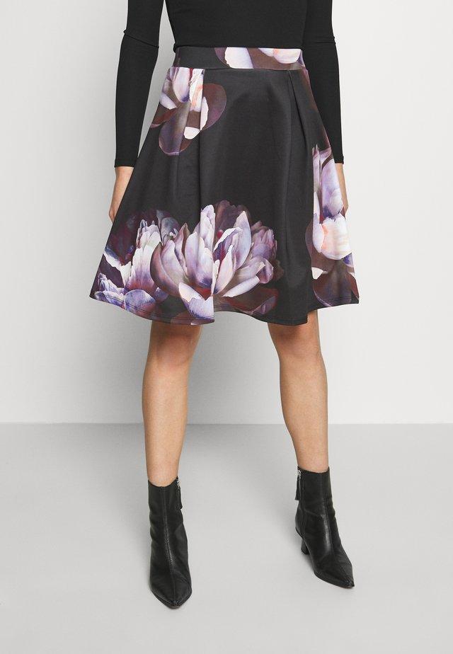A-linjainen hame - dark floral