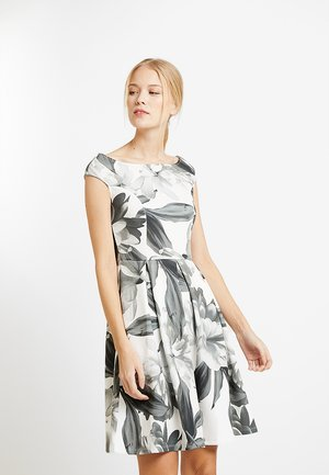Žerzejové šaty - dark grey/grey/off white