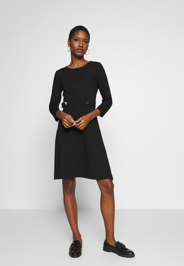 PUNTO FIT & FLARE - Jersey dress - black