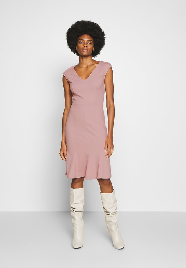 BASIC - V NECK MINI DRESS - Trikoomekko - pale mauve