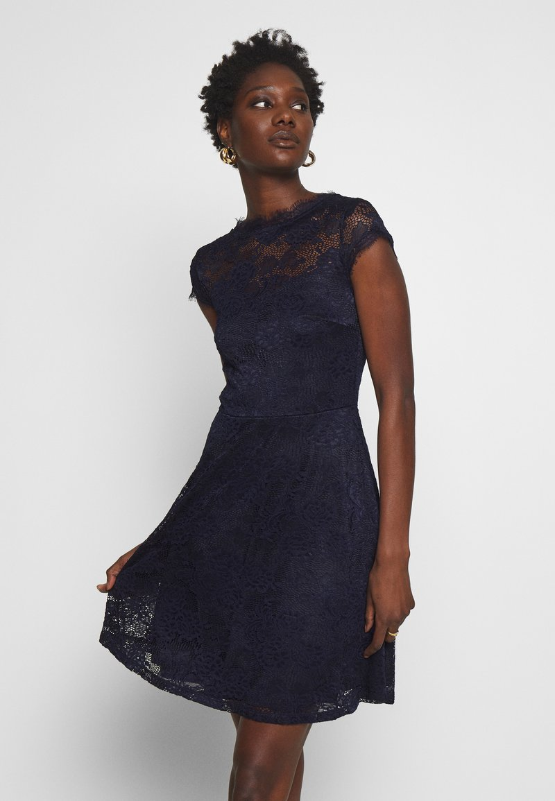 Anna Field - ALL OVER LACE DRESS FIT AND FLARE - Cocktailkjole - evening blue