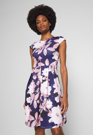 Jersey dress - dark blue/rose
