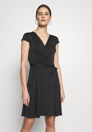 LONGSLEEVE WRAP MIDI - Jersey dress - black