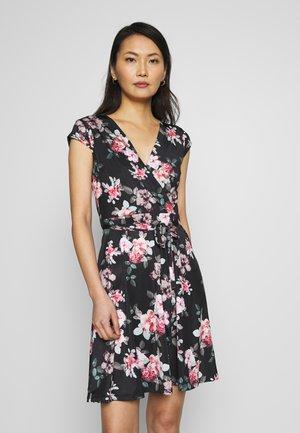 LONGSLEEVE WRAP MIDI - Jersey dress - black/flower
