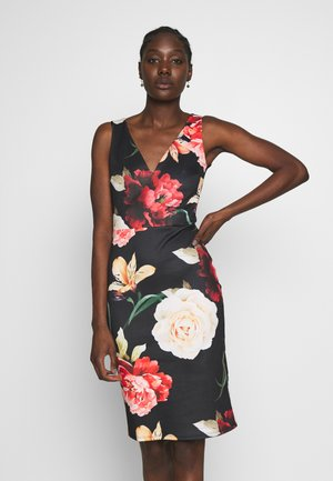 FITTED MIDI SCUBA DRESS  - Shift dress - black/multicoloured
