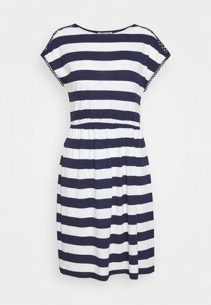 Jersey dress - evening blue/white
