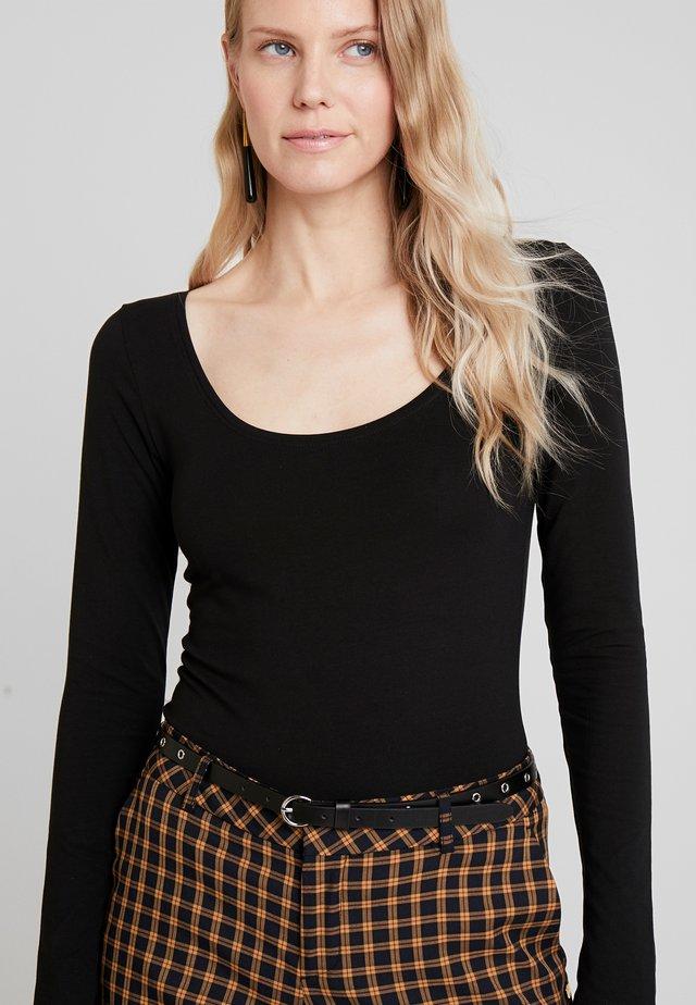 BASIC ROUND NECK LONG SLEEVES - Long sleeved top - black