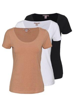 3 PACK - Basic T-shirt - white/camel/black