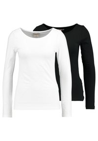 Anna Field - 2 PACK - Long sleeved top - black/white - 0