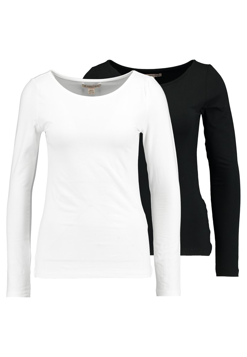 Anna Field - 2 PACK - Long sleeved top - black/white