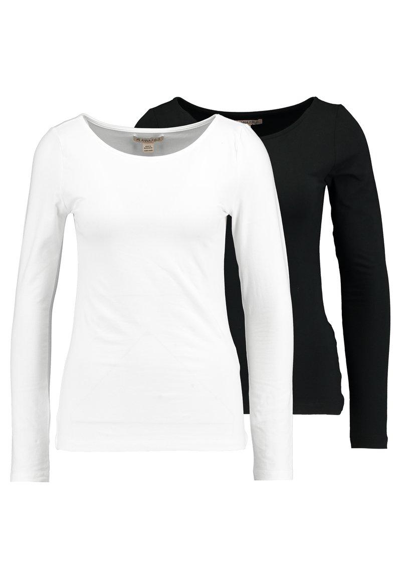 Anna Field - 2 PACK- LANGARMSHIRT BASIC - Longsleeve - black/white
