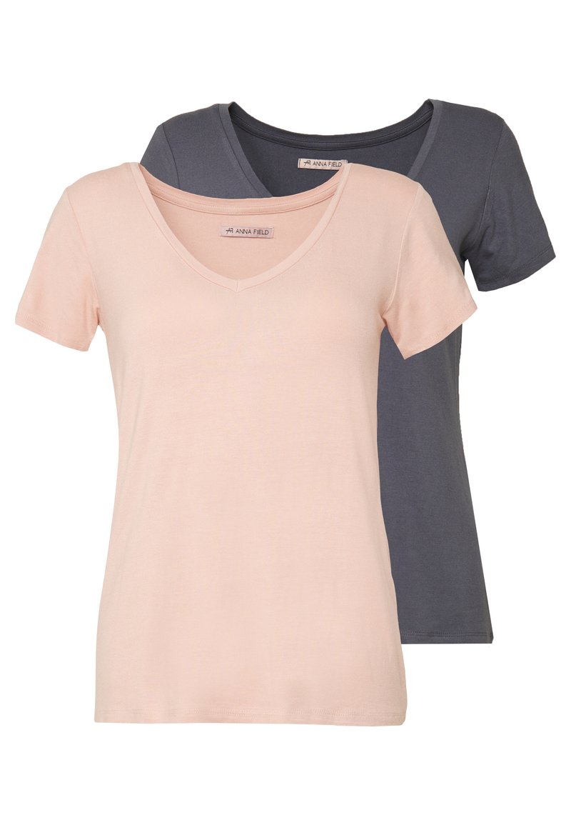 Anna Field - 2 PACK - T-Shirt basic - rose/anthracite