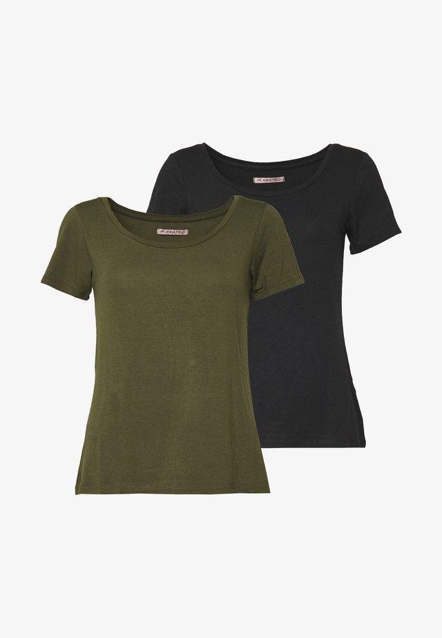 2ER PACK  - T-Shirt basic - khaki/black