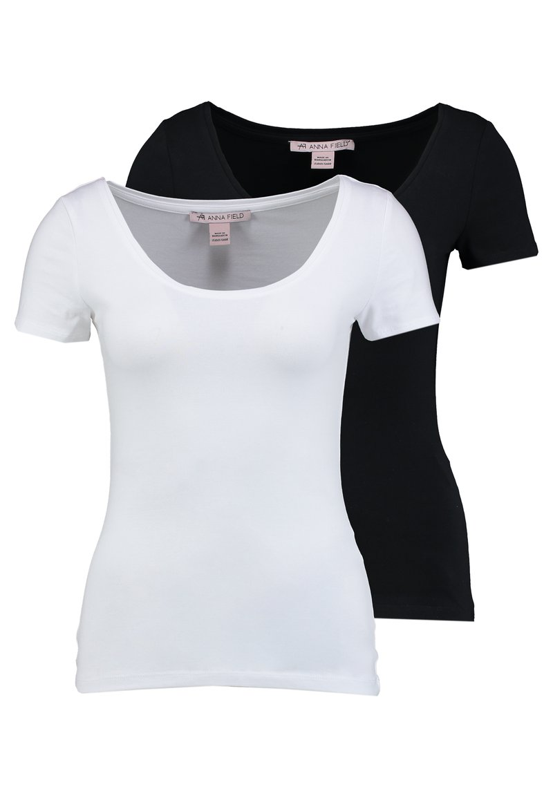 Anna Field - 2 PACK  - T-shirt basic - black/white