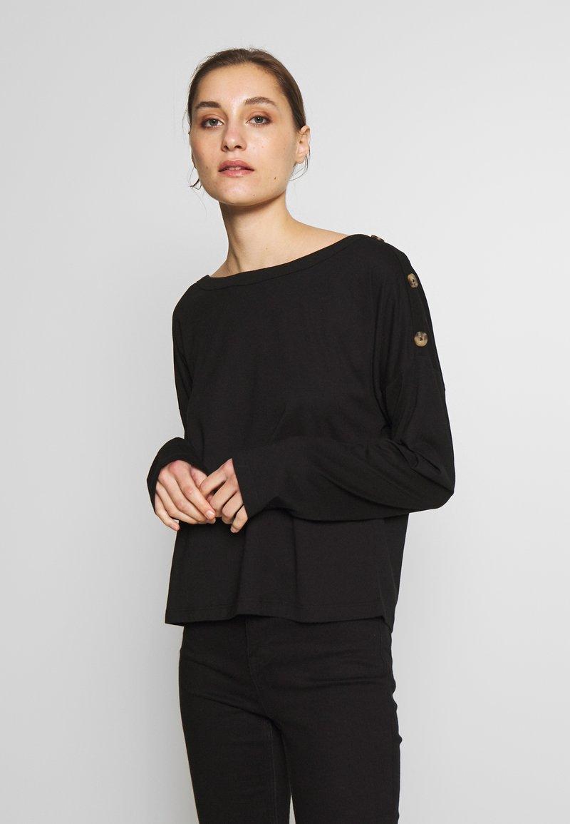 Anna Field - DROP SHOULDER LONG SLEEVES - Bluzka z długim rękawem - black